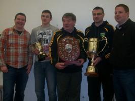 L-R: Patrick O'Flynn (Bord na N-óg Chairman), Brandon Sheehan (U.16 Capt), Lar Maher (Muckalee Football Chairman), Paul Maher (Senior Football Capt), John Ryan(St. Martin's Hurling Chairman)
